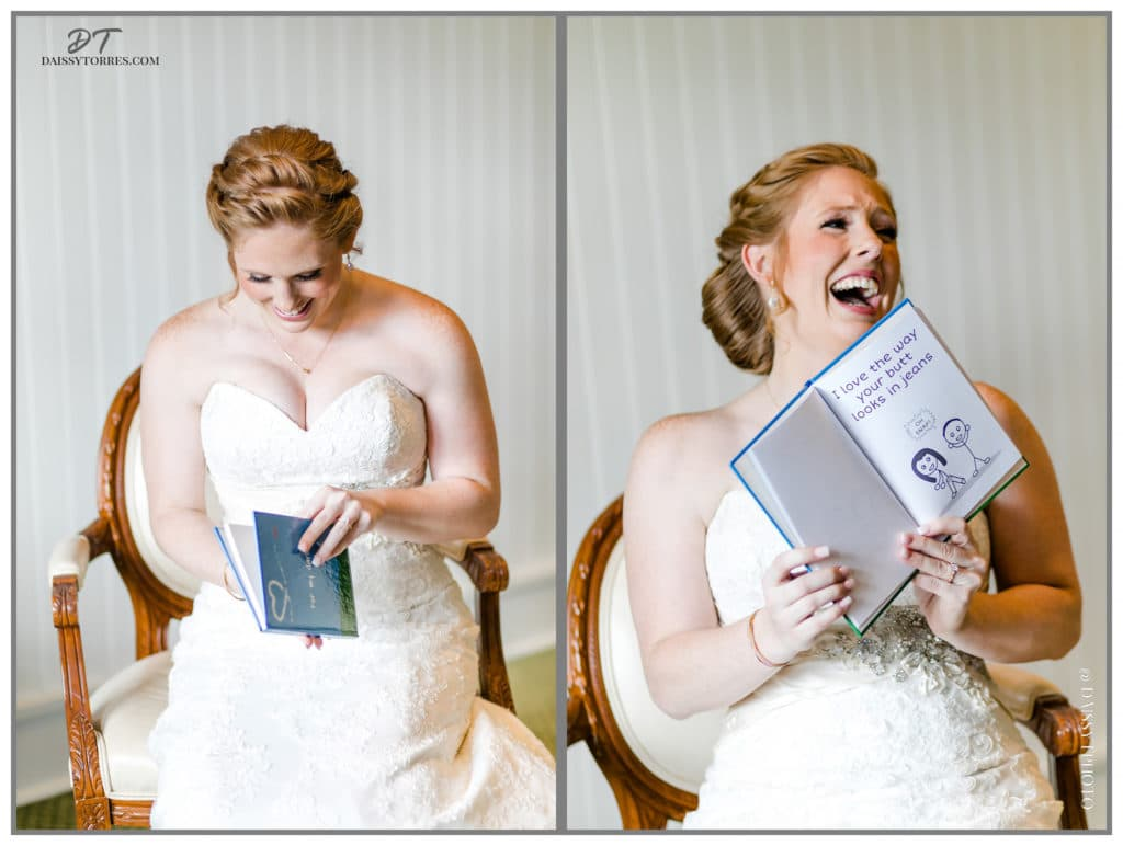 Bride opening gift