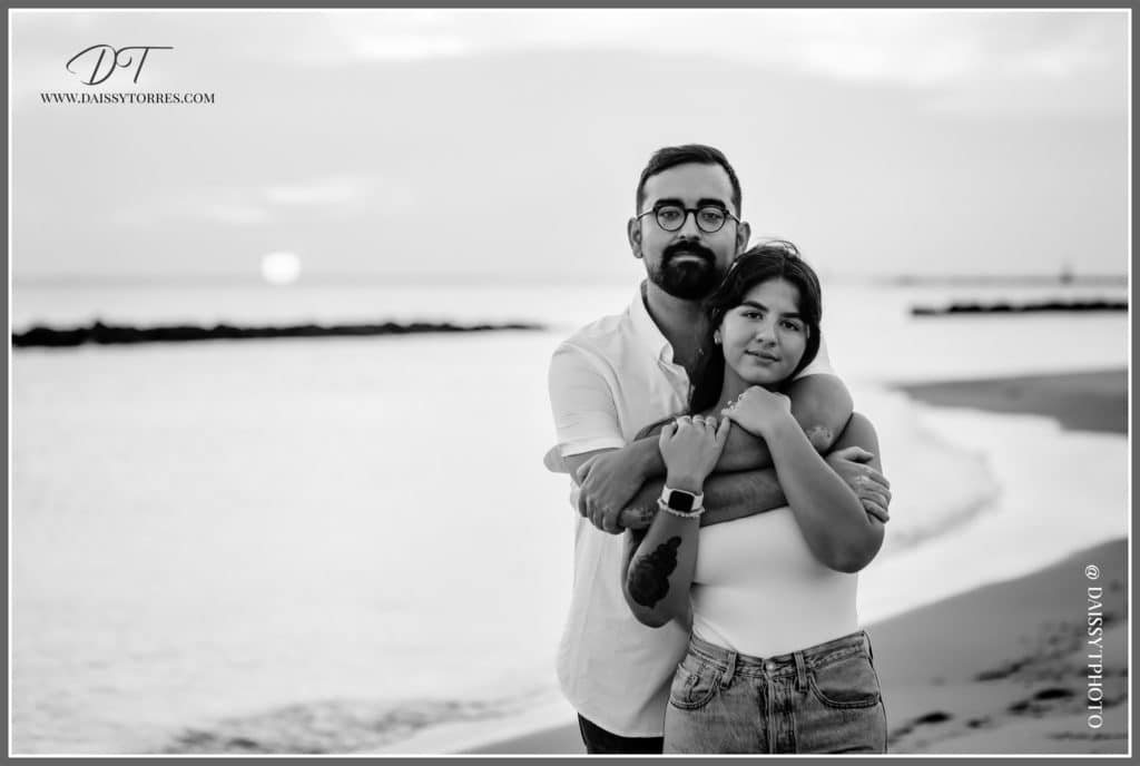 Norfolk, VA Beach Engagement Session Black and White